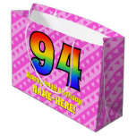 [ Thumbnail: 94th Birthday: Pink Stripes & Hearts, Rainbow # 94 Gift Bag ]