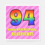 [ Thumbnail: 94th Birthday: Pink Stripes & Hearts, Rainbow # 94 Napkins ]