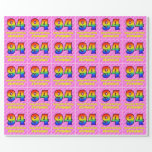 [ Thumbnail: 94th Birthday: Pink Stripes & Hearts, Rainbow # 94 Wrapping Paper ]