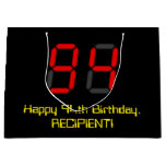 "[ Thumbnail: 94th Birthday: Red Digital Clock Style ""94"" + Name Gift Bag ]"