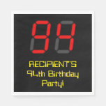 "[ Thumbnail: 94th Birthday: Red Digital Clock Style ""94"" + Name Napkins ]"