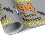 [ Thumbnail: 94th Birthday: Spooky Halloween Theme, Custom Name Wrapping Paper ]