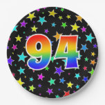 [ Thumbnail: 94th Event: Bold, Fun, Colorful Rainbow 94 Paper Plate ]
