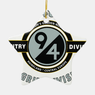 "94TH INFANTRY DIVISION ""PILGRIM DIVISION"" Double-Sided STAR CERAMIC CHRISTMAS ORNAMENT"