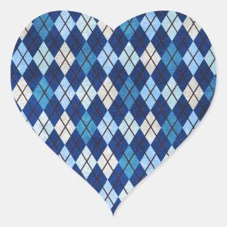 952 BLUE ARGYLE PATTERN CLOTH BACKGROUNDS DIGITAL HEART STICKER