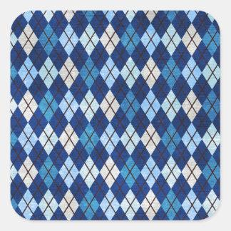 952 BLUE ARGYLE PATTERN CLOTH BACKGROUNDS DIGITAL SQUARE STICKER