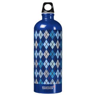 952 BLUE ARGYLE PATTERN CLOTH BACKGROUNDS DIGITAL WATER BOTTLE