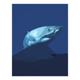 952 DARK BLUE PIXEL GREAT WHITE SHARK SEA CREATURE LETTERHEAD