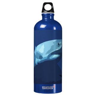 952 DARK BLUE PIXEL GREAT WHITE SHARK SEA CREATURE WATER BOTTLE