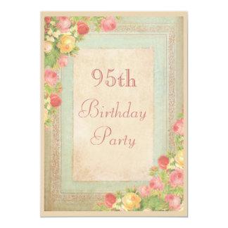 """95.a fiesta de cumpleaños de los rosas elegantes invitación 5"""" x 7"""""""