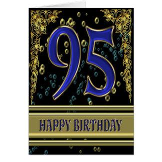 95.a tarjeta de cumpleaños con oro y burbujas
