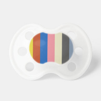 95__fish-market-palette YELLOW RED BLUE PINK GREY Pacifier