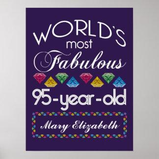95.o Cumpleaños la mayoría de las gemas coloridas Póster
