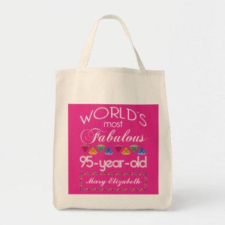 95.o Cumpleaños la mayoría del rosa colorido Bolsa Tela Para La Compra