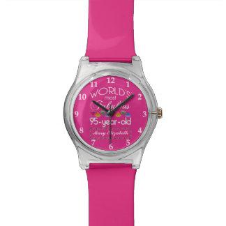 95.o Cumpleaños la mayoría del rosa colorido Reloj De Mano