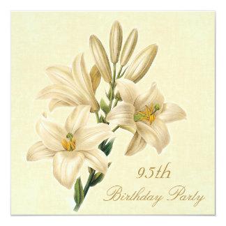 """95.o Flores elegantes del lirio del vintage de la Invitación 5.25"""" X 5.25"""""""