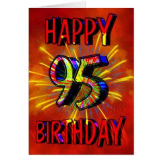 95.o Fuegos artificiales del cumpleaños Tarjeta De Felicitación