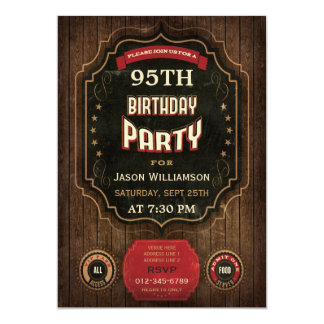 95.o Pizarra y madera del vintage del cumpleaños Invitación 12,7 X 17,8 Cm
