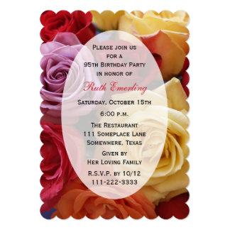 """95.o Rosas del multicolor de la fiesta de Invitación 5"""" X 7"""""""