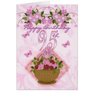 95.o Señora del cumpleaños, rosas y flores Tarjeta De Felicitación