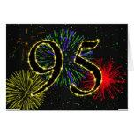 95.o Tarjeta de cumpleaños con los fuegos artifici