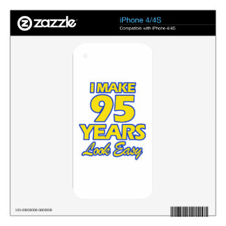 95 YEARS OLD BIRTHDAY DESIGNS DECAL FOR iPhone 4