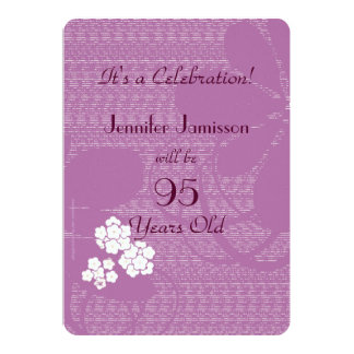 95 Years Old Purple Floral Birthday Party Invite
