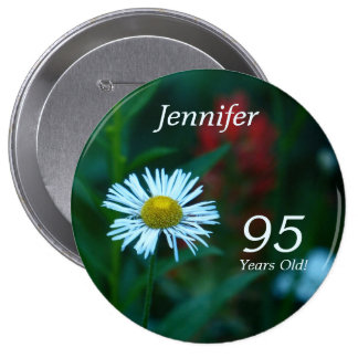 95 Years Old, White WildFlower Button Pin