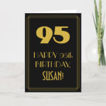 "[ Thumbnail: 95th Birthday ~ Art Deco Inspired Look ""95"" & Name Card ]"