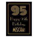 "[ Thumbnail: 95th Birthday: Art Deco Inspired Look ""95"" + Name Card ]"