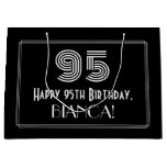 "[ Thumbnail: 95th Birthday — Art Deco Inspired Look ""95"" & Name Gift Bag ]"