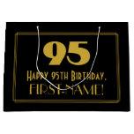 "[ Thumbnail: 95th Birthday — Art Deco Inspired Look ""95"" & Name Gift Bag ]"