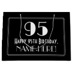 "[ Thumbnail: 95th Birthday: Art Deco Inspired Style ""95"", Name Gift Bag ]"