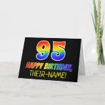 [ Thumbnail: 95th Birthday: Bold, Fun, Simple, Rainbow 95 Card ]