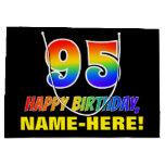 [ Thumbnail: 95th Birthday: Bold, Fun, Simple, Rainbow 95 Gift Bag ]