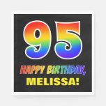 [ Thumbnail: 95th Birthday: Bold, Fun, Simple, Rainbow 95 Napkins ]