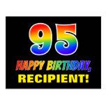 [ Thumbnail: 95th Birthday: Bold, Fun, Simple, Rainbow 95 Postcard ]