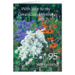 95th Birthday Card for Great -Grandmother - Garden