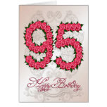 95th birthday card with roses and leaves