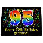 [ Thumbnail: 95th Birthday - Colorful Music Symbols, Rainbow 95 Gift Bag ]