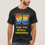 [ Thumbnail: 95th Birthday: Colorful Music Symbols, Rainbow 95 T-Shirt ]