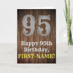 [ Thumbnail: 95th Birthday: Country Western Inspired Look, Name Card ]