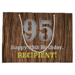 [ Thumbnail: 95th Birthday: Country Western Inspired Look, Name Gift Bag ]