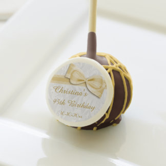 95th Birthday Damask and Faux Bow Cake Pops