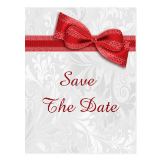 95th Birthday Damask and Faux Bow Save The Date Postcard