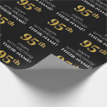 [ Thumbnail: 95th Birthday: Elegant, Black, Faux Gold Look Wrapping Paper ]