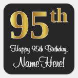 [ Thumbnail: 95th Birthday - Elegant Luxurious Faux Gold Look # Sticker ]