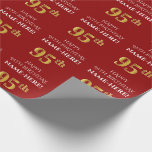 [ Thumbnail: 95th Birthday: Elegant, Red, Faux Gold Look Wrapping Paper ]