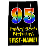 "[ Thumbnail: 95th Birthday: Fun, Bold, Colorful, Rainbow ""95"" Gift Bag ]"
