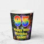 [ Thumbnail: 95th Birthday: Fun Fireworks Pattern + Rainbow 95 ]